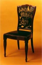Dining Chair c. 1882 A. H. Mackmurdo - Mahagony, upholstered seat, fretwork back painted decorations